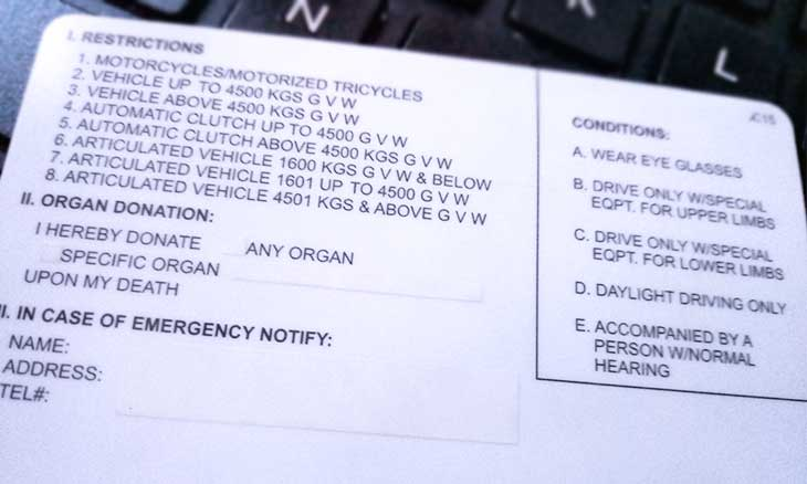 drivers license restriction codes ph